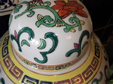 GOOD SIZE ORIENTAL GINGER JAR & LID HANDPAINTED BOLD FLORAL DECORATION 10.5""